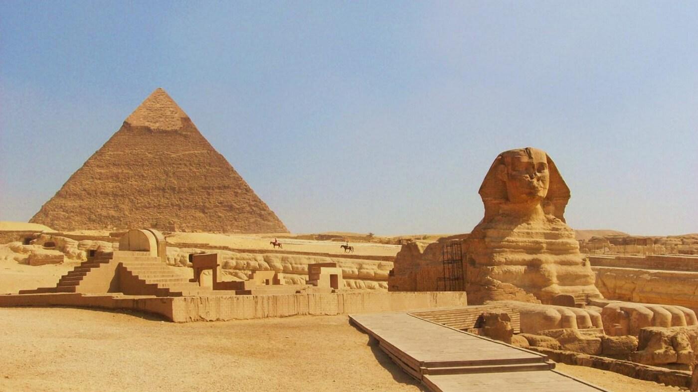 Pirâmide e esfinge de Gizé Cairo Egito