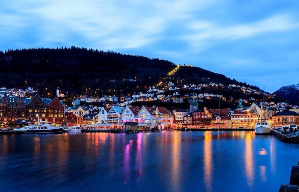 Vista da baía de Bergen