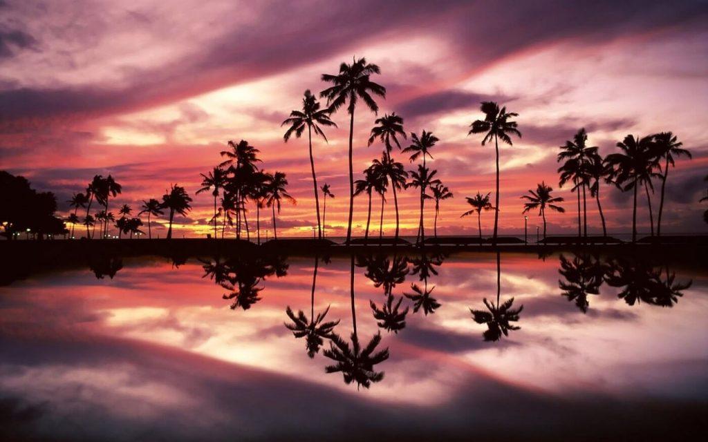 Paisagem Maldivas no pôr do sol